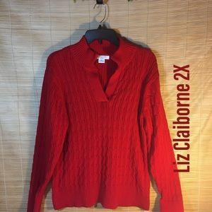Liz Claiborne cable knit sweater 2X
